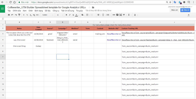 Tạo trên file Google Bảng Tính.