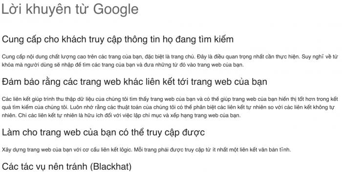 """Google muốn website của bạn """"có thông tin mà người dùng đang tìm kiếm"""""""