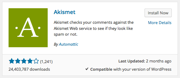 Image result for akismet plugin