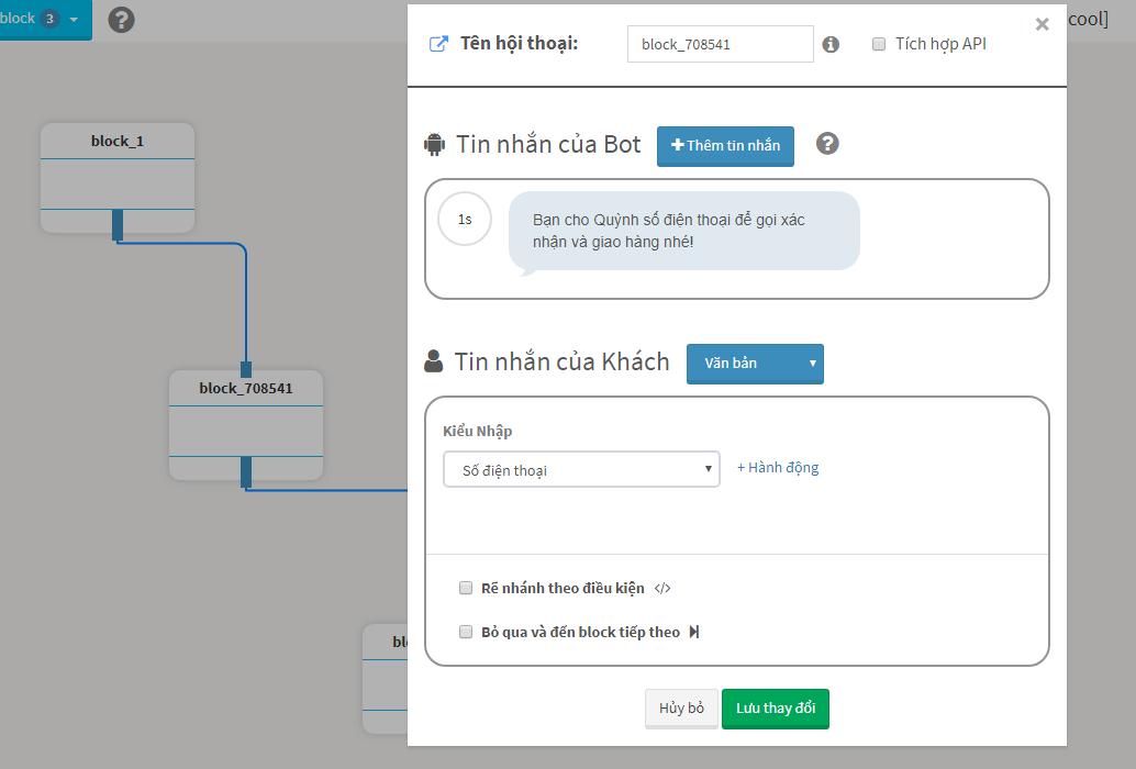 Sử dụng chat bot để chăm sóc và lấy số điện thoại khách hàng