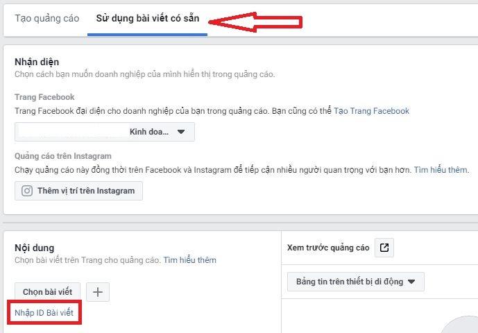 cách chạy quảng cáo bài viết ẩn trong quảng cáo Facebook 1