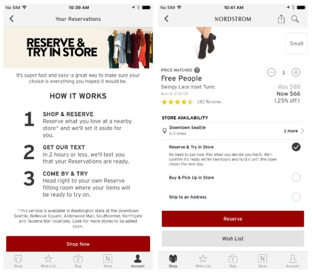 Nordstrom in app purchase